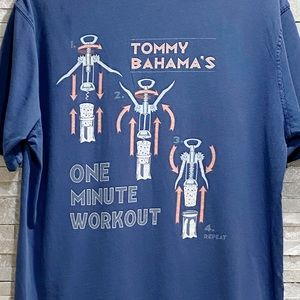Tommy Bahama Men's Blue Graphic Tee L